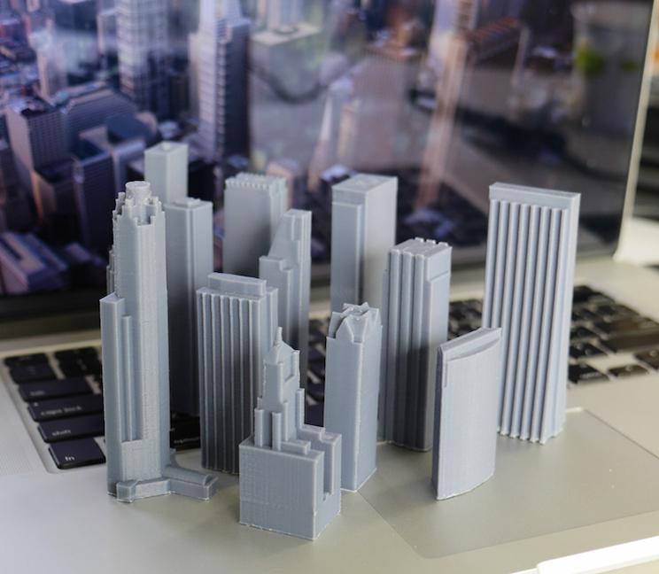 3D 프린팅으로 제작한 건물 모형  3D프린터로 만든 모형(디테일과 자유로운 곡면 형상 표현) 시카고의 실제 건축물 축소 모델
