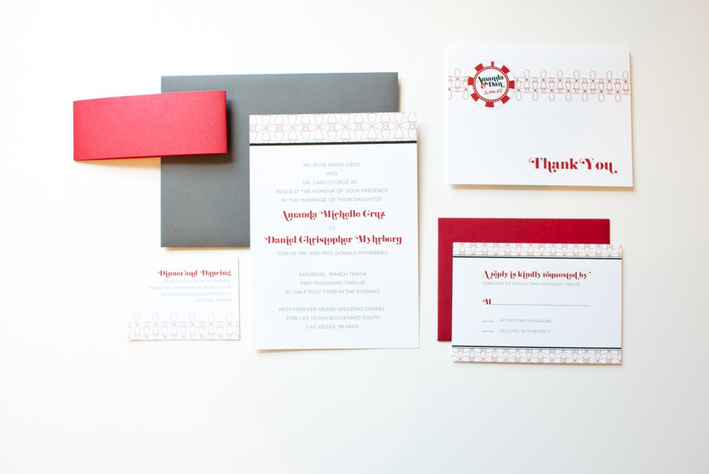 Modern Vegas Black Red Wedding Invitation