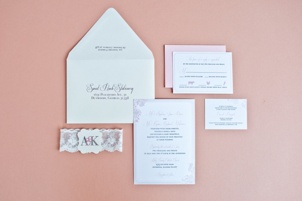 Lace Peach Ivory Script Wedding Invitation