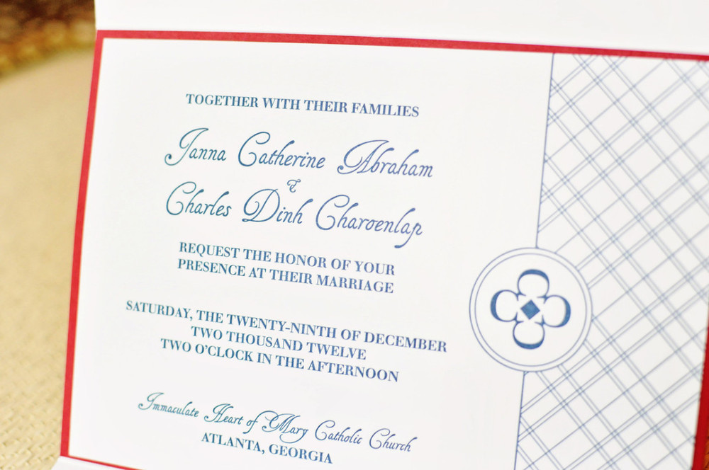 Plaid Red Navy Letterpress Wedding Invitation