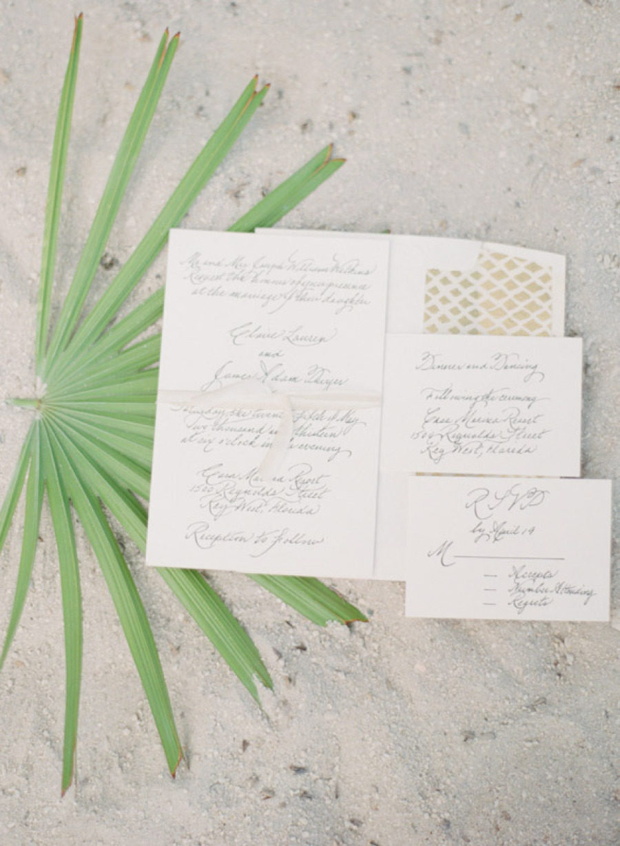 Letterpress Calligraphy Beach Wedding Invitation
