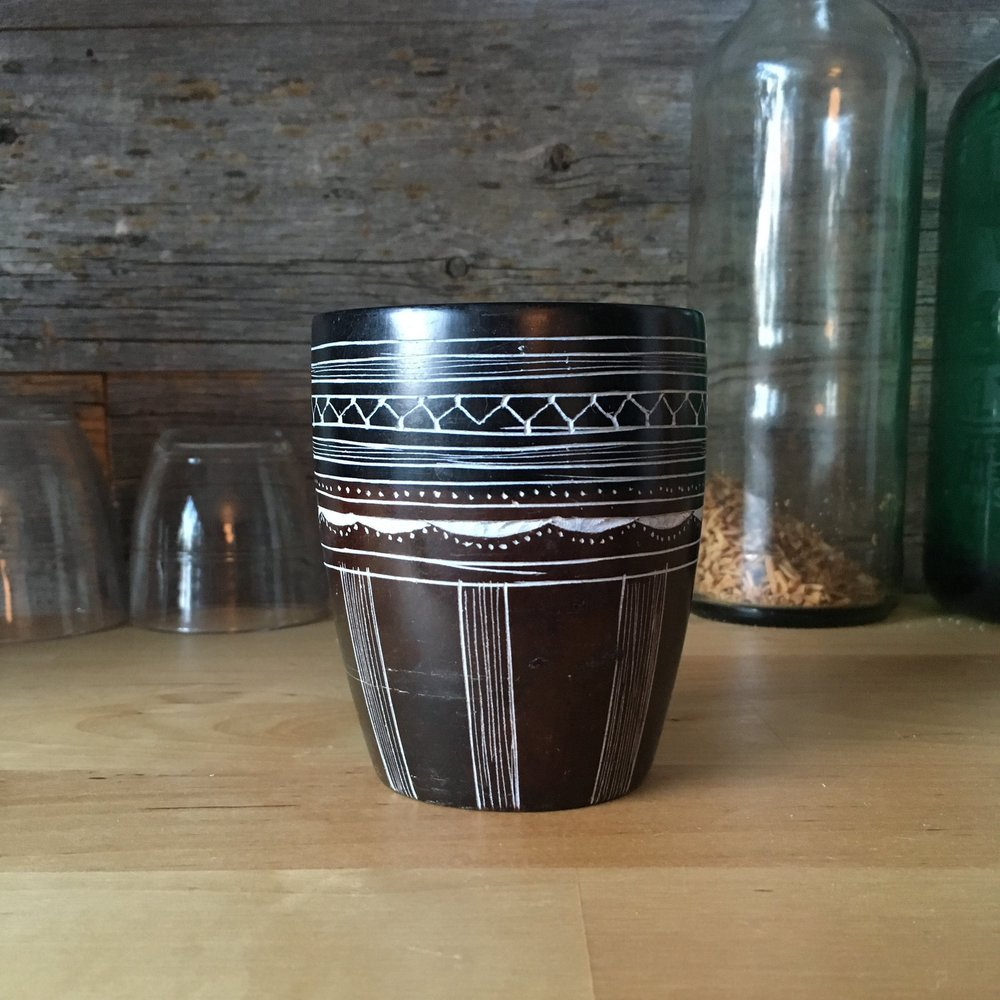 Handcarved Decorative Soapstone Cup made in Niger by Ali Albaka