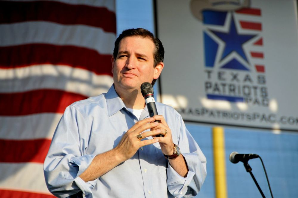 Ted Cruz speaking at our rally in Conroe during his campaign for U.S. Senate.