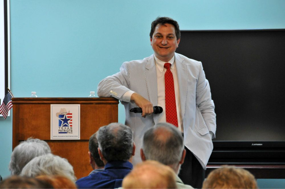 Then-Republican Party of Texas Chairman Steve Munisteri speaking at one of our open meetings.