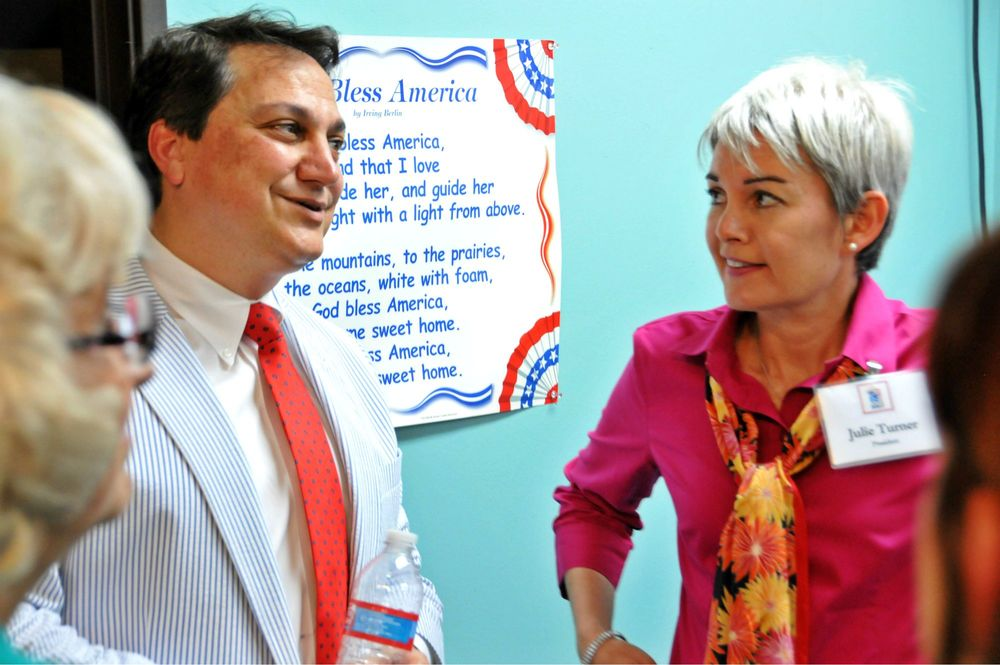 Former Republican Party of Texas Chairman Steve Munisteri and Texas Patriots PAC President Julie Turner chat after one of our open meetings.