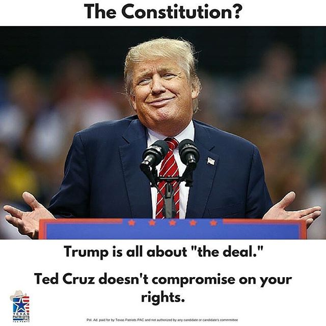 Which of your rights are negotiable to Donald Trump? The 2nd Amendment? Right to life? Property rights? We get it, you think he's cool. But you don't have to question where Ted Cruz stands on the Constitution and the Bill of Rights. Let's send a Texan to restore constitutional conservatism to the White House. #TexansforTed #CruzCrew #htx #thewoodlands #texas  More information: http://www.texaspatriotspac.com/ted-cruz