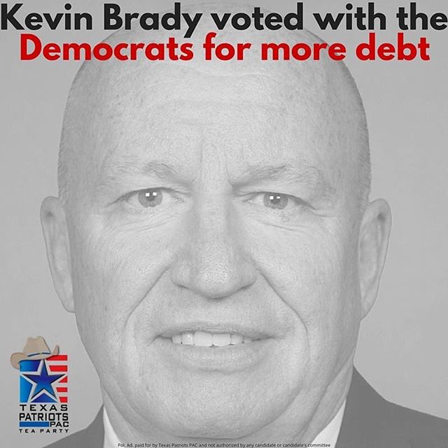 In October of 2015, a small minority of Republicans joined with all of the Democrats to vote to raise the debt ceiling. One of these Republicans was Kevin Brady. LIKE and SHARE if you think our national debt is dangerous! We cannot keep kicking the can down the road and saddle our children and grandchildren with debt. Vote for Steve Toth for Congress today! #DefeatKevinBrady #VoteforToth #thewoodlands #thewoodlandstx #lakeconroe  More information on this vote: http://bit.ly/1mRloGK  More information on this race: http://www.texaspatriotspac.com/steve-toth