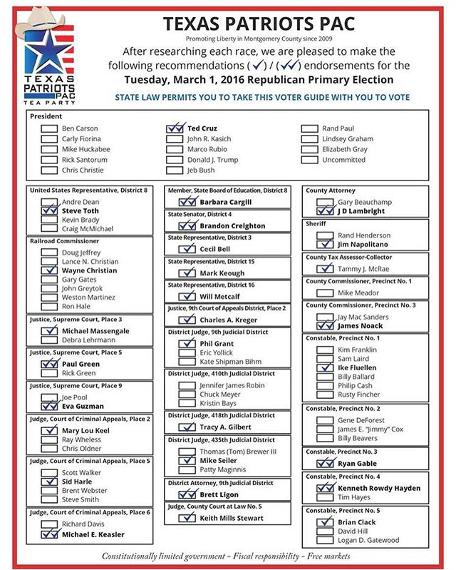 Montgomery county residents: here is our official voter guide. Polls are open 7 - 7 this week! Go vote! (Be sure to bring a paper copy as the election judges do not allow you to look at your phone in the voting booth.) #thewoodlands #thewoodlandstx #lakeconroe #conroe #magnoliatx