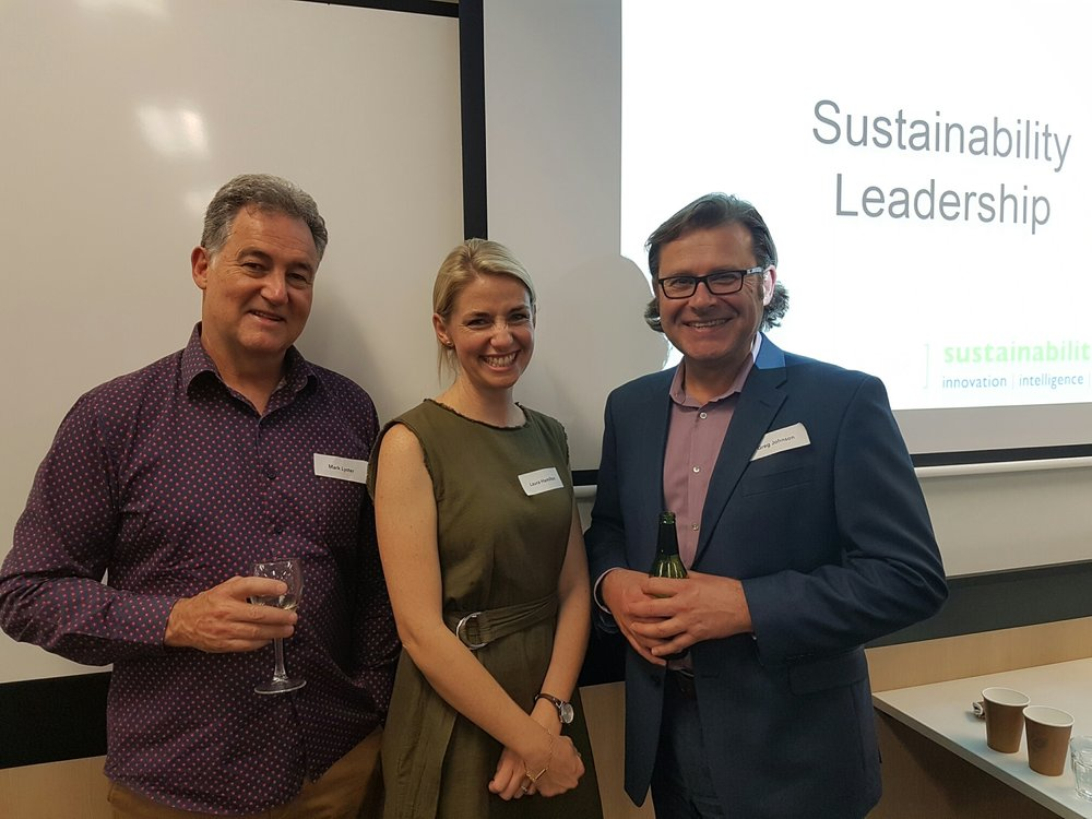 From left to right          Mark Lyster – Founding Partner of Action Sustainability, Laura Hamilton – Sydney Future Makers Fellowship Program Facilitator, Centre for Sustainability Leadership and Greg Johnson – National Sustainability Manager, Stockland