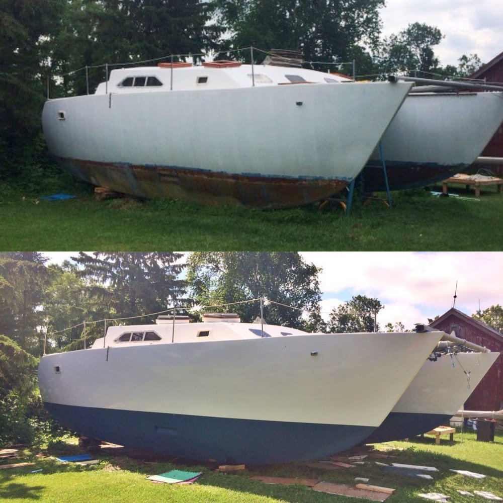 A before and after shot of the Wildcat's spiffy new paint job!