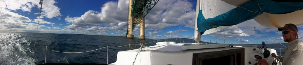 Sailing beneath the Mackinac Bridge!