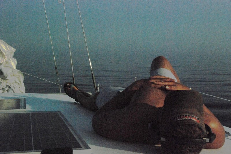 Retro underexposed shot of Zion relaxing as we motor through the fog on Georgian Bay.