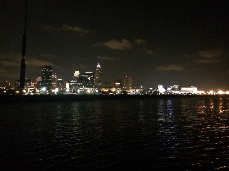 Cleveland skyline from our awkward little anchorage beside airport.