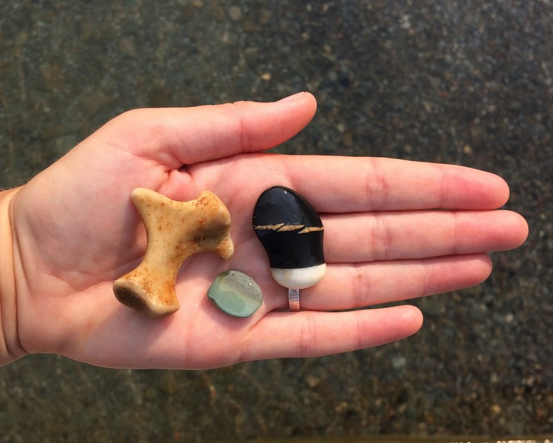 Beach treasures, including the COOLEST ever rock!