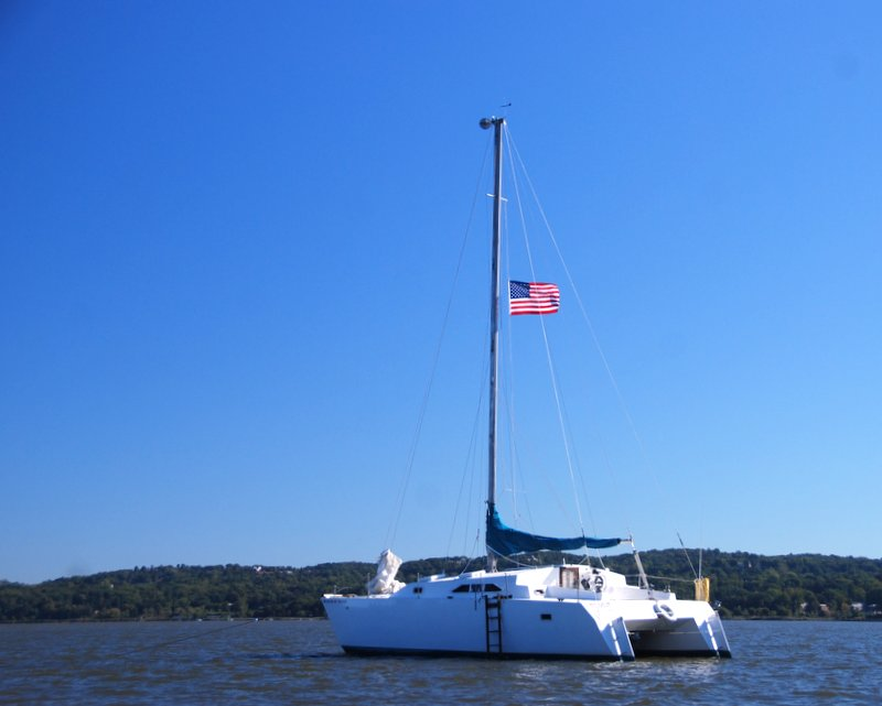 A gorgeous day to fly the flag on the Hudson!
