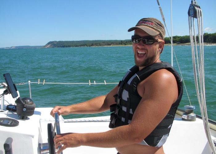 Zion Klos sailing on Lake Huron