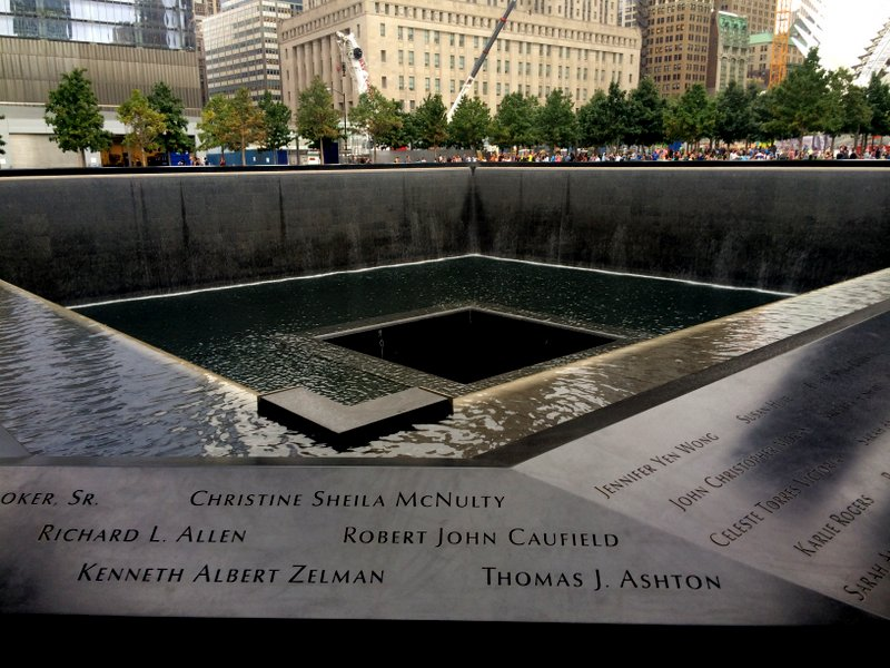 The beautiful and moving 9/11 memorial.