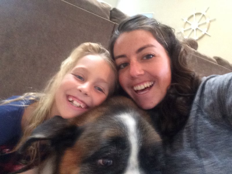 My niece Teagan and Dorain the St. Bernard