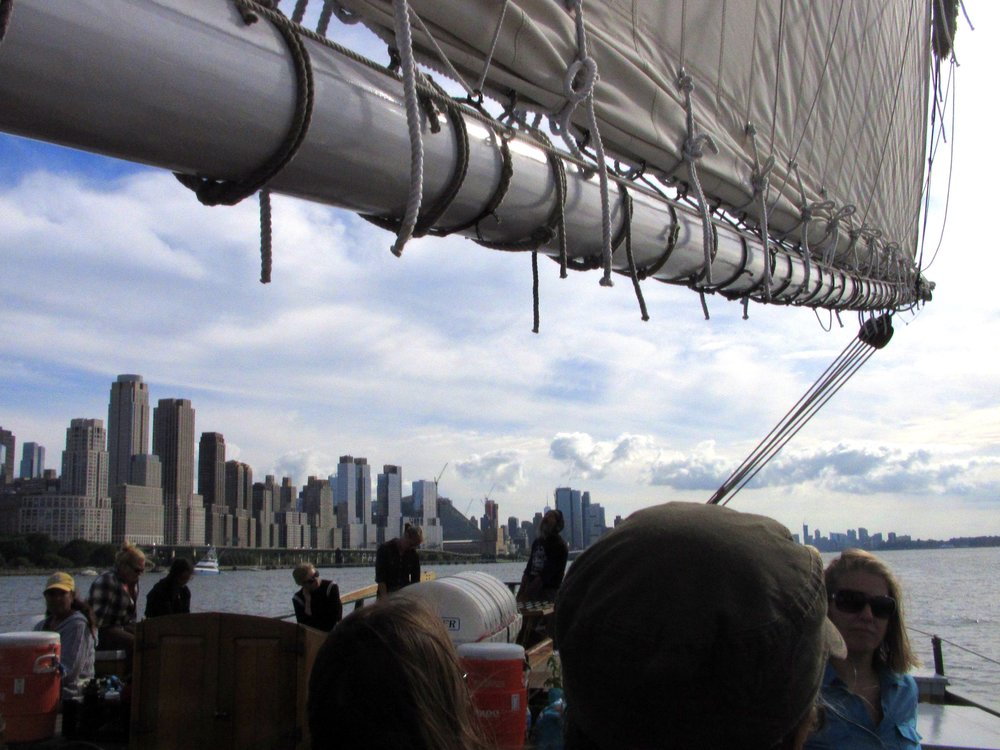 The view of Manhattan from the Clearwater sloop.
