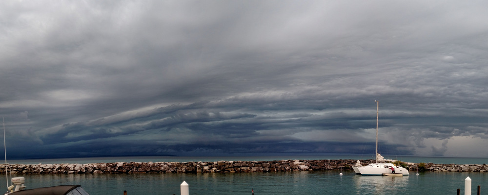 We encountered a massive triplet of storms on Lake Michigan last August.