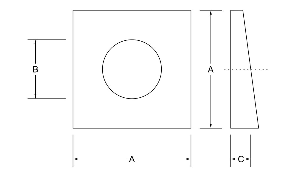 beveled washer dimensions