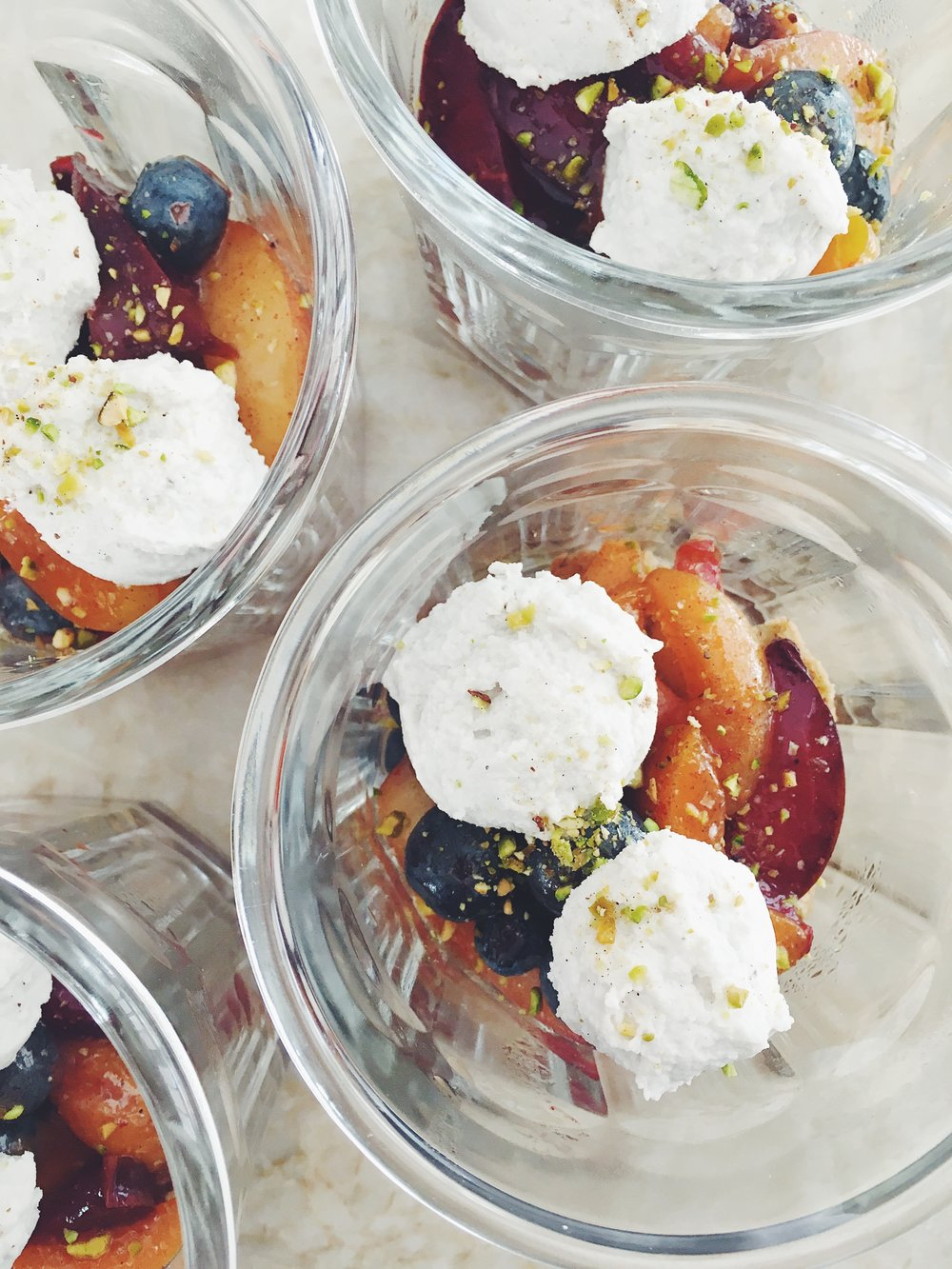 Stone Fruit + Berry Tart Cups with Salted Pistachio Oat Crumbles + Coconut Cardamom Cream