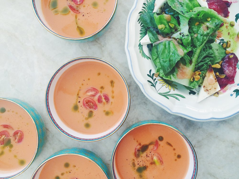 Gazpacho with Basil Chili Oil + Roasted Plum Salad