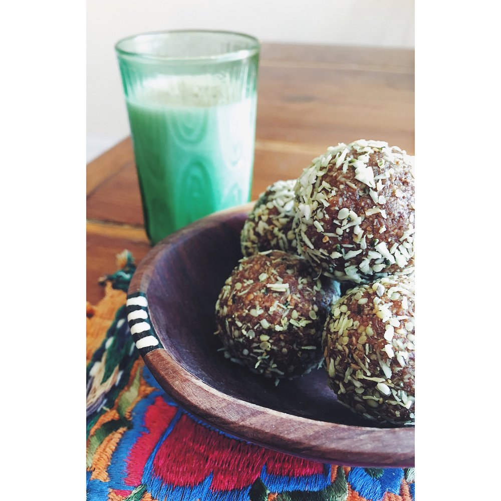 "- YIELD: 1 dozen 2T pieces1/4 cup hemp seeds1/2 cup almonds1/2 cup almond butter3 T raw honey1/2 tsp vanilla powder1/2 cup unsweetened, shredded coconut2 T milk thistle powder1/4 tsp ground turmeric1/2 tsp ground ginger1/2 tsp ground cinnamonblack pepper, pinch1/4 tsp sea salt1 tsp melted coconut oilCOATING1 T hemp seeds4 T unsweetened, shredded coconut, lightly toasted1/8 tsp sea saltPROCEDURE-Place ingredients (minus the ""coating"") in a food processor and pulse until chunky yet well combined.-Measure 2 T portions, and roll into approximately 12 balls.-Mix coating ingredients in a small bowl.-Place balls into the coating mixture and toss to cover.*Balls can be refrigerated or frozen"