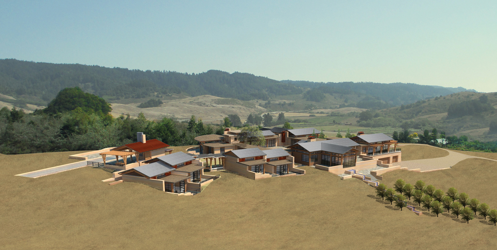 aerial california horse ranch view