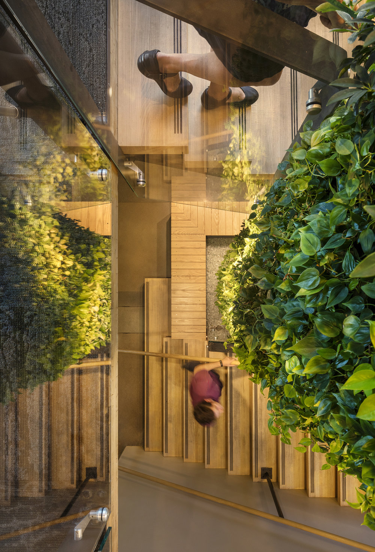 glass green stair birdseye