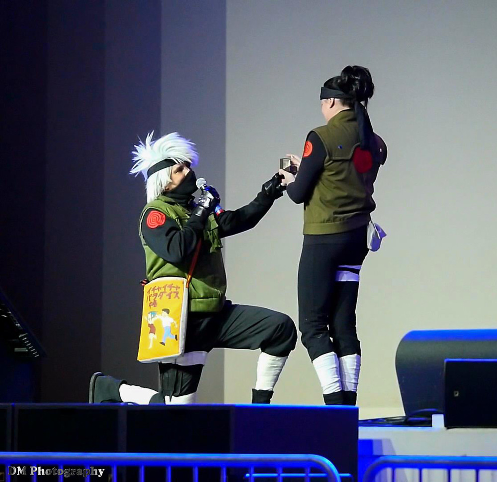 Marriage proposal during the Masquerade contest, still image taken from a video clip that I recorded