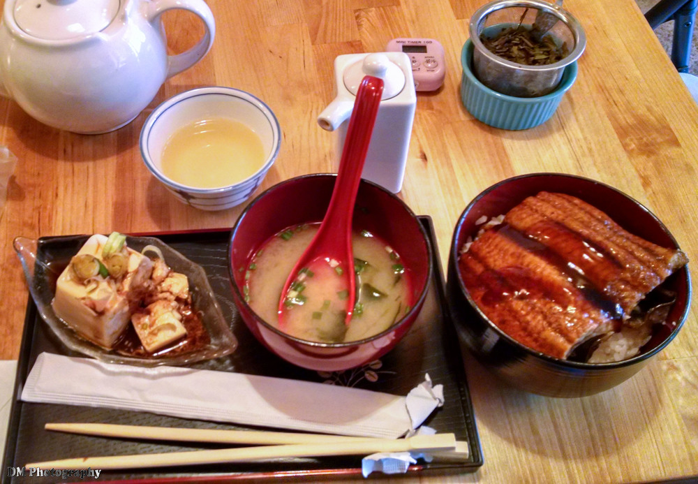 A picture that I had taken with my cell phone back in January of the Unagi Donbori with Peach Blossom tea, miso soup, and a block of tofu.