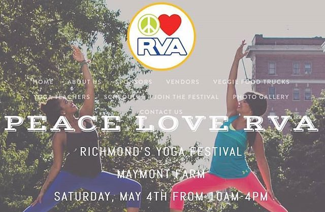 PEACE LOVE RVA . THINK GLOBAL. PRACTICE LOCAL. . BE A PART OF A FULL DAY OF YOGA, LOCAL VEGETARIAN FOOD AND MERCHANTS, LIVE MUSIC, AND MORE... . MAY 4TH, 2019- 10AM-4PM . MAYMONT PARK . http://peaceloverva.com . . . . . . . . #greatabidingyoga #yoga #yogaeverywhere #yogaeverydamnday #yogagirl #unlockingthepowerwithin #yogaoffthemat #yogaaddict #yogateacher #yogastudent #liveyouryoga #livealifeyoulove #livefully #createyourreality #greatabidinglove #powerwithin  #yogalife #namaste #yogafestival2018