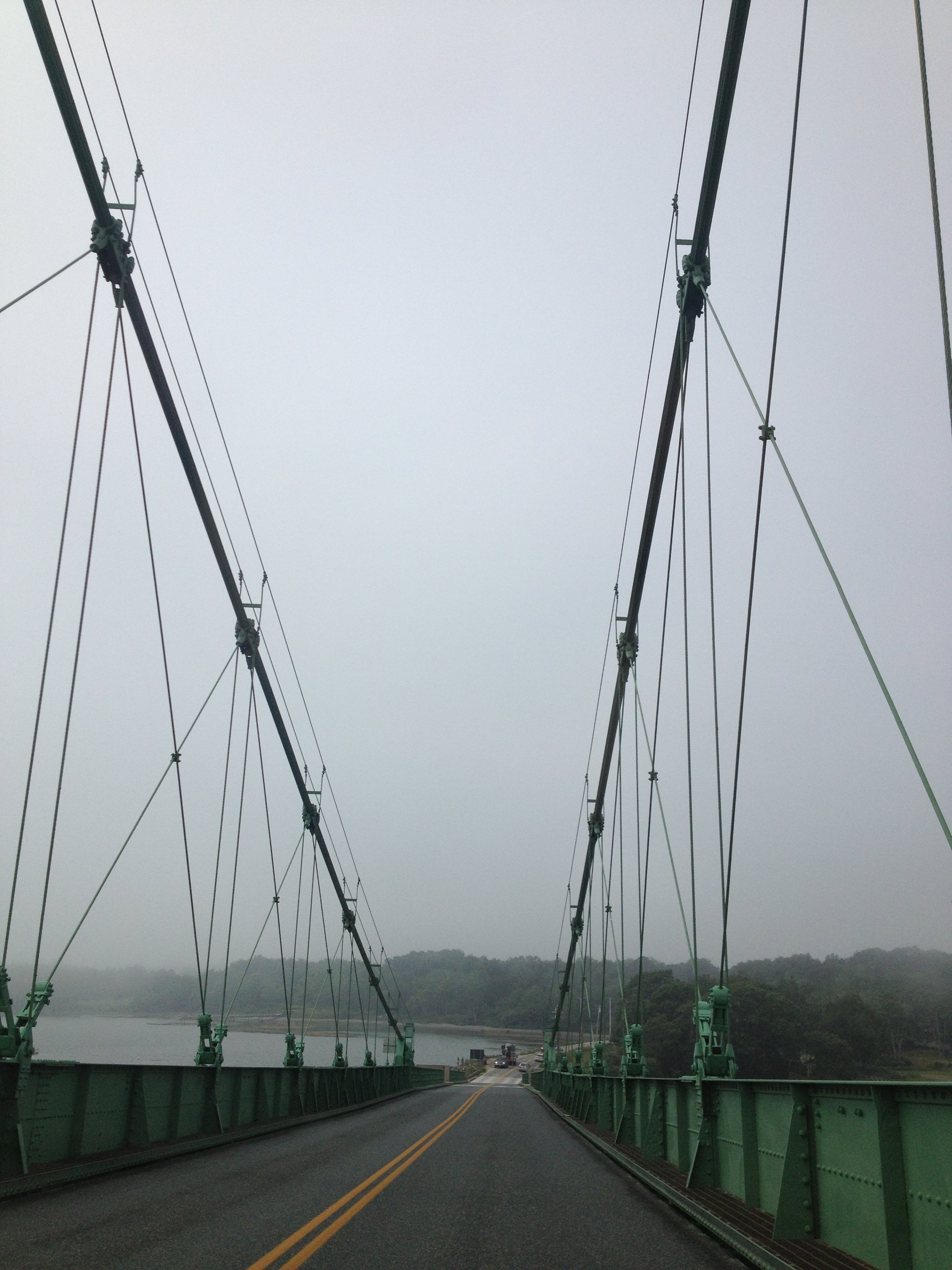 Crossing the Deer Isle bridge the following day in the fog.
