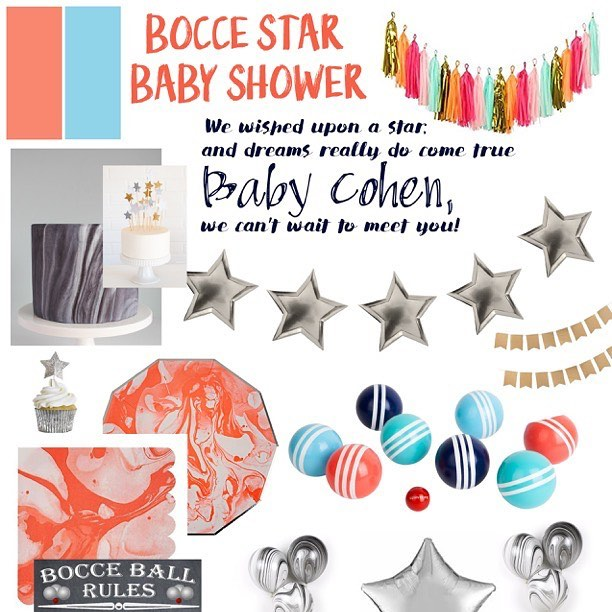 It's hard to keep our parties a secret as we're planning them but we want to make it as much a surprise to the guests as possible! Annie came to us wanting to add some feminine touches to a co-ed bocce ball baby shower. We twisted it around a bit to include a star theme, which ties together the sport/tournament and the expecting parents journey to become parents. Making inspiration boards helps us bring our ideas together as well as showing the client a clear path to our creative minds 😜 #party #partyplanners #bayareapartyplanner #bayarea #babyshower #boccestar #bocce #bocceball #harpergrey #harpergreyevents #alameda