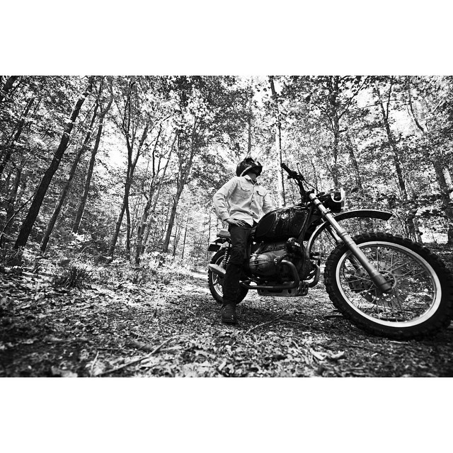 Things are looking up this coming month | BMW Scrambler right at home deep in the woods | photo by: @yveassad  (at Hampshire, Tennessee)