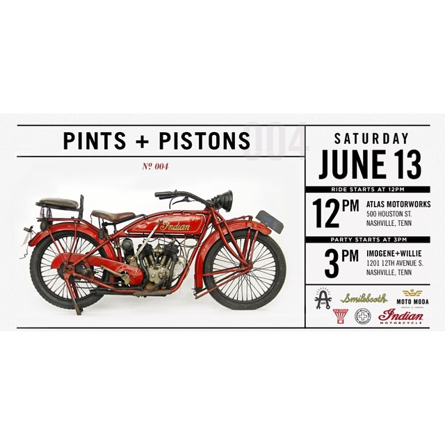 Not going to Bonnaroo because you don't have artist passes, or you're in town and  wanna escape all tihe crazy CMA fest mayhem?!?! Come ride with us Saturday June 13th starting 12pm here at #forthouston for the 4th annual Pints + Pistons hosted by @imogenewillie and these fine sponsors @indianmotorcycle @smilebooth @yazoobrew @motomodashop  (at Fort Houston)
