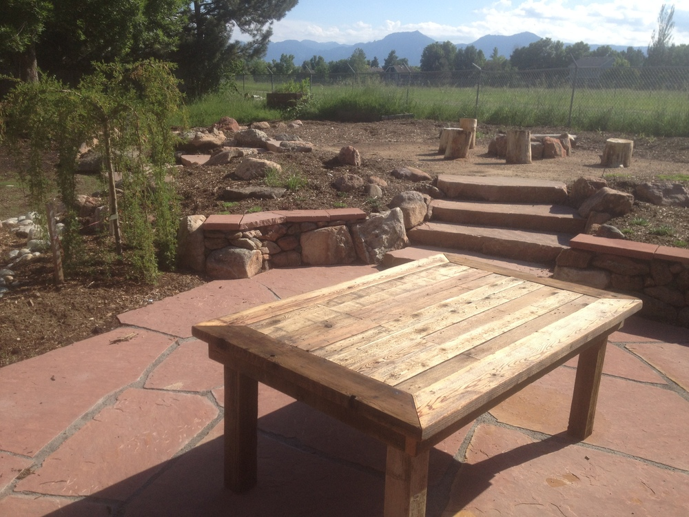 Reclaimed Wood Table In Boulder Landscape Design