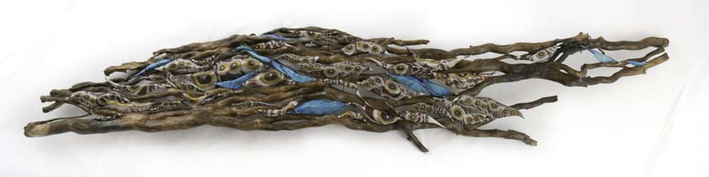 """Alive in the Flow""  (13 x 59 x 5)   (Multiple pods created from macro photography of the outer and underside of the Common Blue Morpho Butterfly wings, nestled in tree roots which became dislodged in a recent flood... this piece is a wall hanging)."