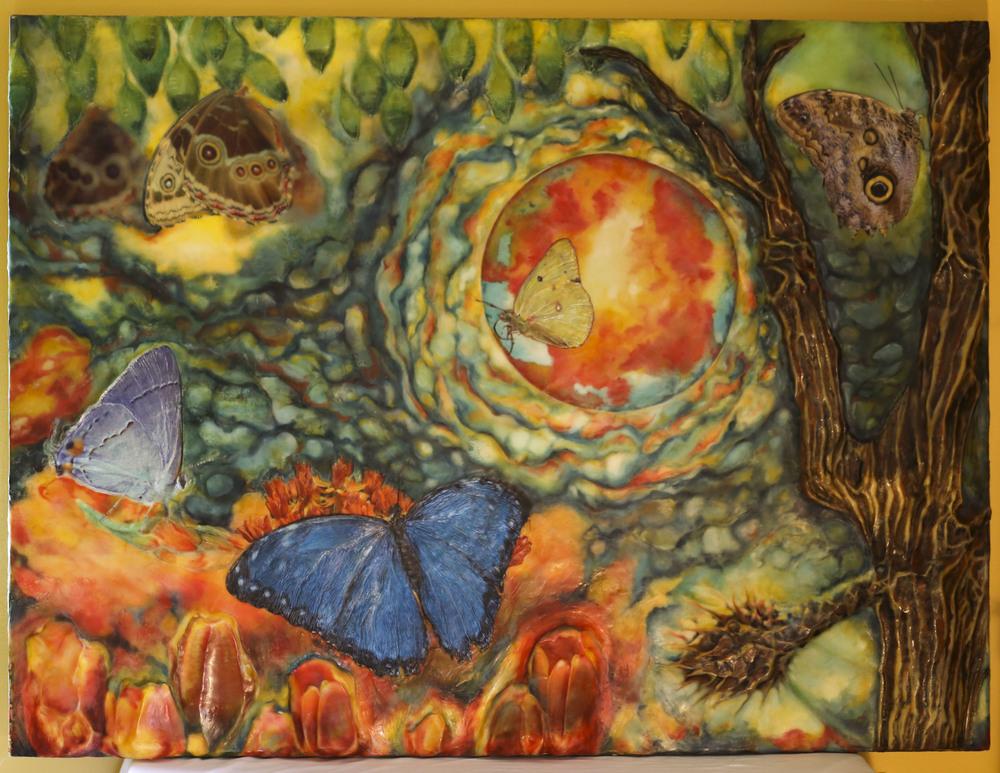 """Seasons of Life"" , encaustic, macro photography, pigment"