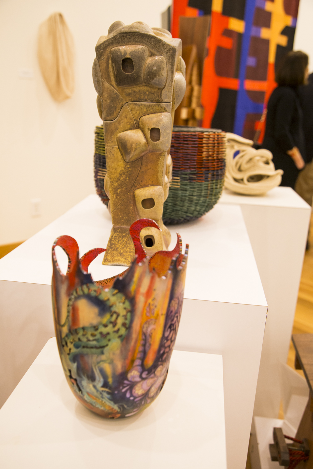 Carol V. Hall with Michael Kehs and Dan Greer (PA),  Dragon Vessel: When Fire Dries a Tear,  and Stephen S. Robison with Kathleen Guess (WA),  Pasta Box (behind vessel)