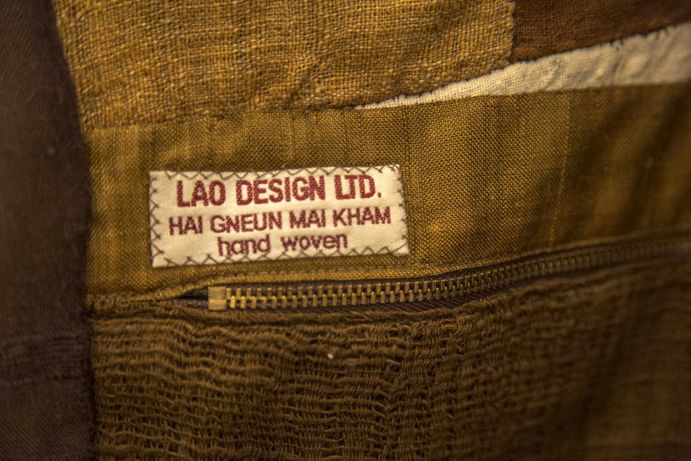 Bounkgohn Signavong's hand-woven jacket (above), detail (shared that it took ten years to weave and construct!)