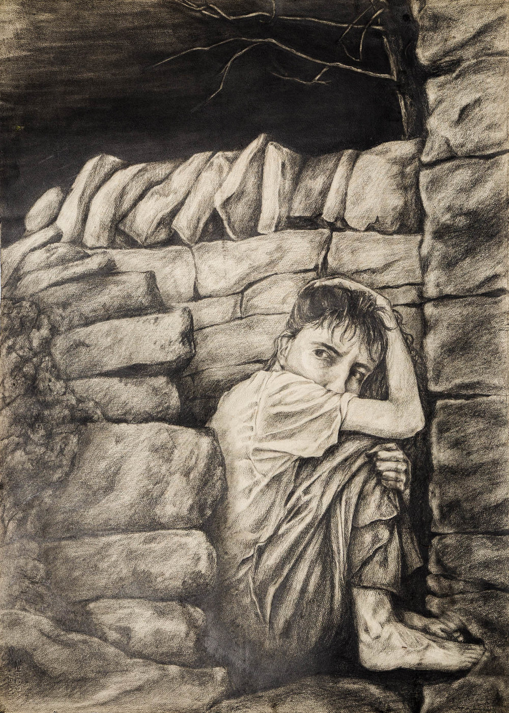 """LOOKING WITHIN"", 1987, (36 x 48 inches),  graphite, 1st self-portrait (not in current exhibit)"