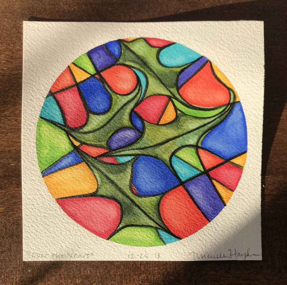"""Unlike yesterday's circle, filled with space, this one is space, filled!  It did not begin that way... rather, I started with a few abstract holly leaves, remembering how much I loved drawing them as a child, their curves springing to life over the page... which led me down the path of many Christmas memories, made so special with the intention and hard work by my mama.  Color filled my mind with images of the bright chunky lights my step-father faithfully hung on the roof's edge (while we all anxiously watched from the ground), down to the tiny colored lights on our tree filled with many beloved hand-made ornaments and the even-tinier speckles of colored sugar and red hots that paintstakingly (or not!) decorated our sugar cookies.  It is no wonder that the holly leaves got lost in the thick color that took over the page, and like the stillness of yesterday's circle, gave way to the raucous excitement of my seven siblings and me on Christmas morning.  As we celebrate with our own children now, I remain more thankful than ever for the love shown in the details and the colors left in my mind.  Wishing you all peace and joy and much love in all ways you are celebrating!"""