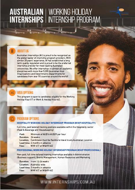Working Holiday Visa Internship Program