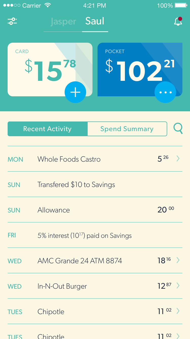 TRUST (BUT VERIFY) Nickel makes it easy for you and your child to keep track of spending. Each decision – even the mistakes – is a teachable moment, and maybe even (gasp) a conversation.