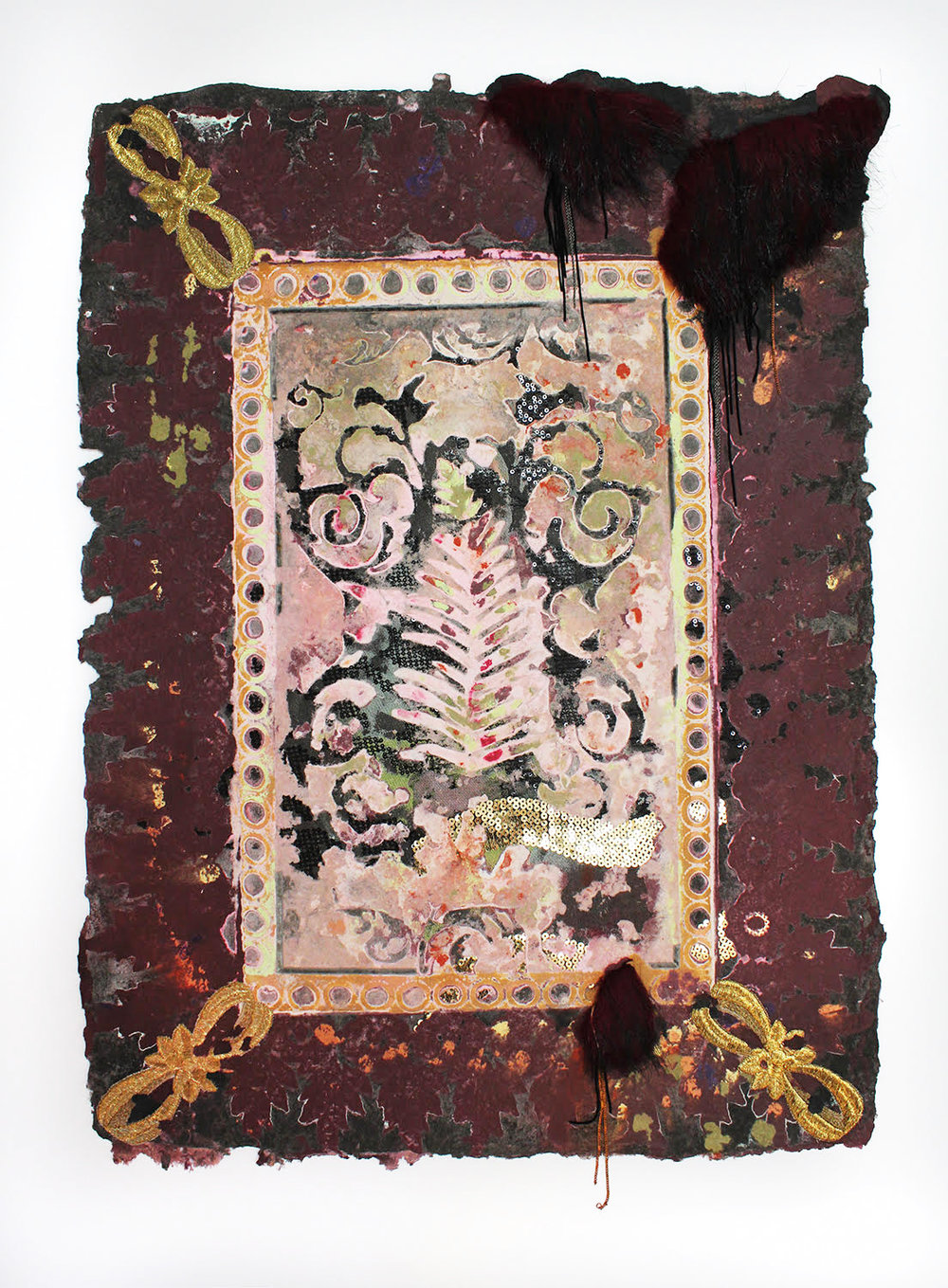 Lina Puerta, Untitled (Burgundy/Tapestries Series), 2016