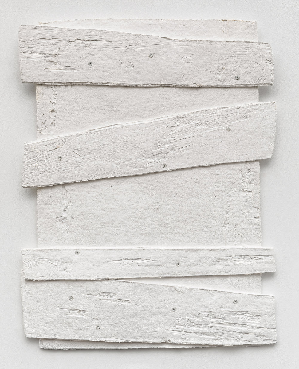 Diana Shpungin   Don't Let The Light In 2 (White) , 2018  Casting cotton paper pulp, linen paper   34 x 27 x 1 inches  Image copyright and courtesy of Etienne Frossard.