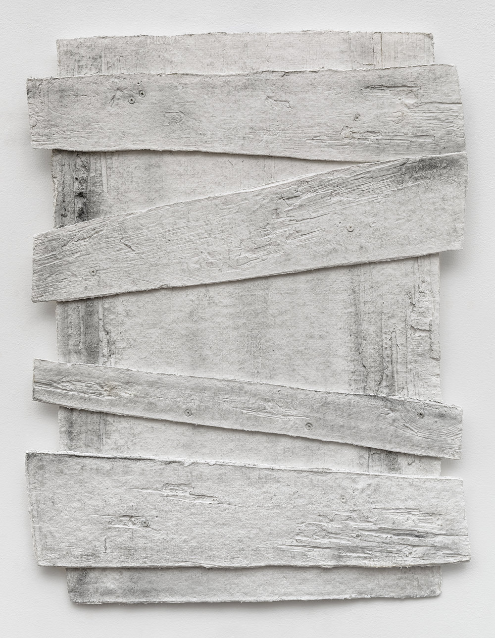 Diana Shpungin   Don't Let The Light In 2 (Stained) , 2018  Graphite, casting cotton paper pulp, linen paper   34 x 27 x 1 inches  Image copyright and courtesy of Etienne Frossard.