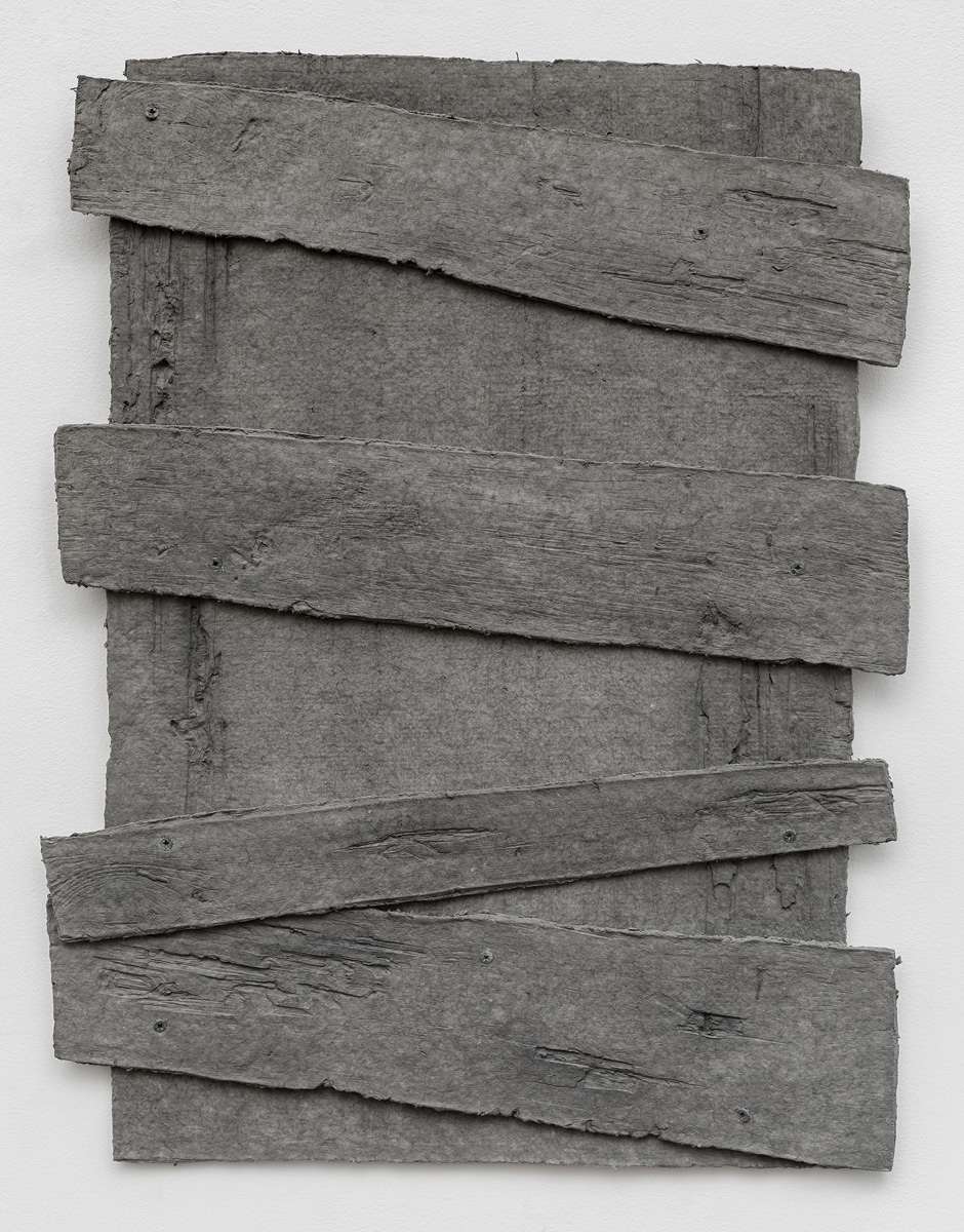 Diana Shpungin   Don't Let The Light In 2 (Grey) , 2018  Graphite, pigmented casting cotton paper pulp, abaca paper   34 x 27 x 1 inches  Image copyright and courtesy of Etienne Frossard.